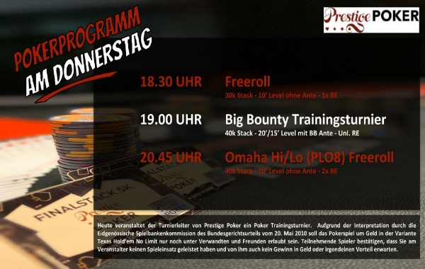 PP am Donnerstag: Big Bounty Trainingsturnier und PLO8 Freeroll